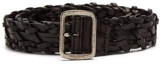 Saint Laurent Woven Leather Belt - Womens - Black