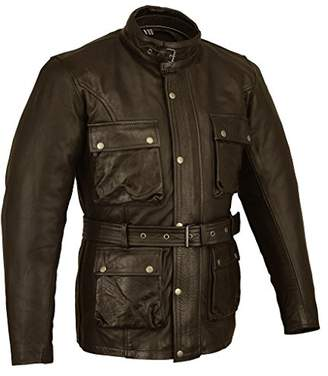 Bikers Gear Trailmaster Classic Vintage Motorcycle Waxed Age Treated Leather Jacket Size