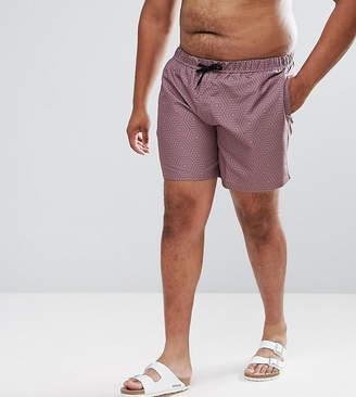 Asos DESIGN PLUS Swim Shorts With Geometric Print In Pink Mid Length
