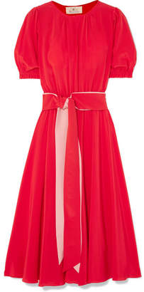 ARoss Girl x Soler - Brooke Belted Silk Crepe De Chine Midi Dress - Red