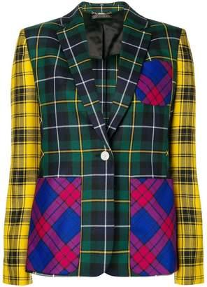 Versace checked straight blazer