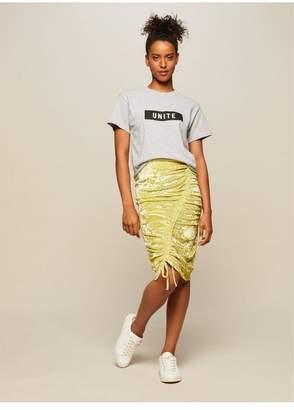 Miss Selfridge Chartreuse velvet ruched skirt