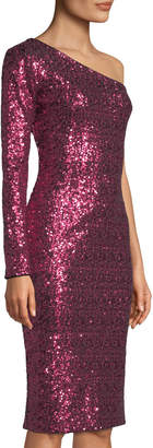 Dress the Population Chrissie One-Sleeve Sequin Bodycon Cocktail Dress