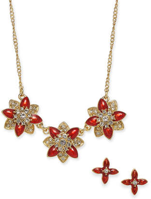 """Charter Club Gold-Tone Crystal and Stone Flower Collar Necklace & Stud Earrings Set, 17"""" + 2"""" extender"""