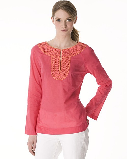 Tory Burch Cotton Voile Abbey Tunic with Embroidered Neck