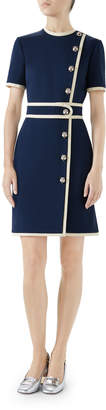 Gucci Short-Sleeve Two-Tone Compact Jersey Dress w/ Tiger Buttons