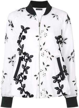 Josie Natori embroidered bomber jacket