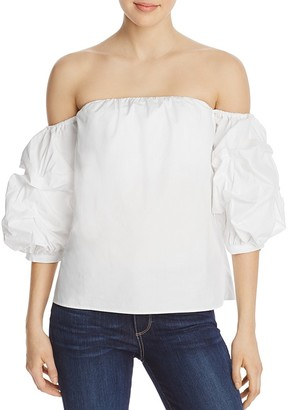 AQUA Off-the-Shoulder Ruffle Sleeve Top - 100% Exclusive $58 thestylecure.com