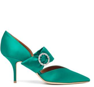 Malone Souliers Maite Crystal Buckle Satin Pumps - Womens - Green