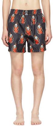 SSS World Corp Black Flaming Skeleton Swim Shorts