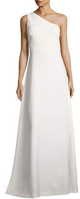 Elizabeth and James One-Shoulder Crepe A-Line Gown, Ivory $645 thestylecure.com