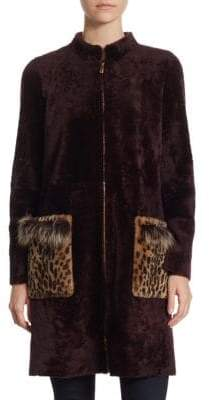 The Fur Salon Shearling Front Zip Jacket