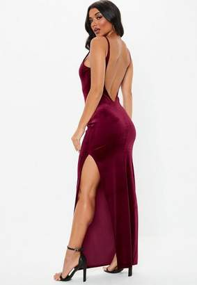 Missguided Burgundy Velvet Strappy Square Neck Maxi Dress