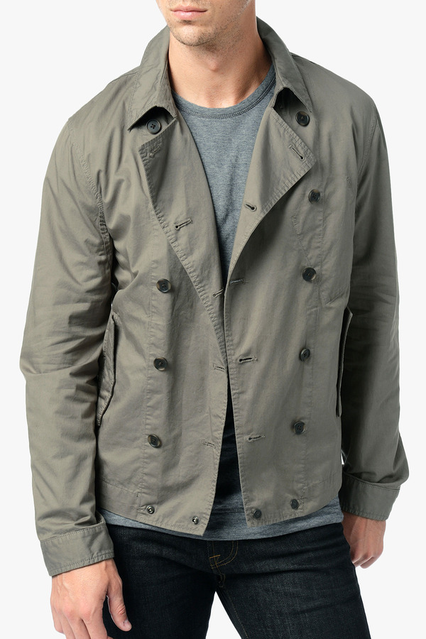 7 For All Mankind Trench Jacket In Dark Olive