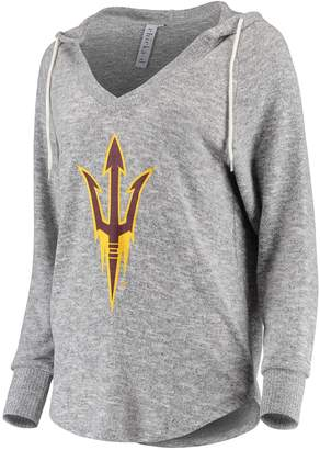 Unbranded Women's chicka-d Heathered Gray Arizona State Sun Devils Super-Soft Cozy Fleece Tri-Blend V-Neck Pullover Hoodie