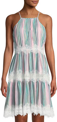 Catherine Malandrino Striped Halter-Neck Lace-Trimmed Dress