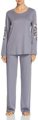 Hanro Jana Embroidered Long Sleeve Cotton Pajama Set