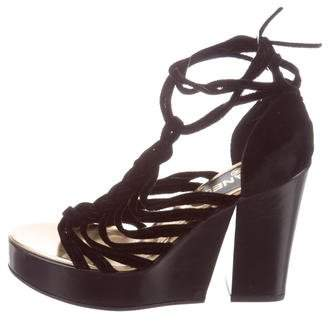 Chanel Velvet Lace-Up Sandals