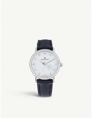 BLANCPAIN 6102-4628-95A quartz stainless steel and diamond watch