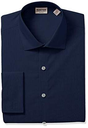 Kenneth Cole Reaction Men's Technicole Slim Fit Stretch Solid French Cuff Dress Shirt