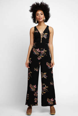 Abbeline Sleeveless Floral Crepe Jumpsuit
