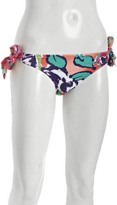 Lisa Curran Swim pink floral print 'Marlena' tie side bikini bottom