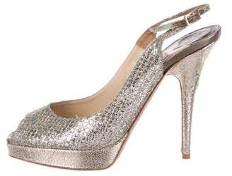 Jimmy Choo Glitter Peep-Toe Platform Pumps