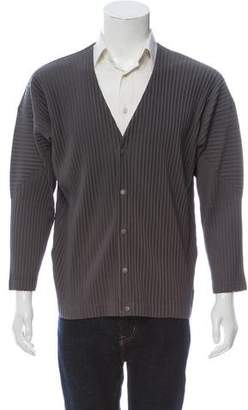 Issey Miyake HOMME PLISSÉ Snap Front Long Sleeve Cardigan