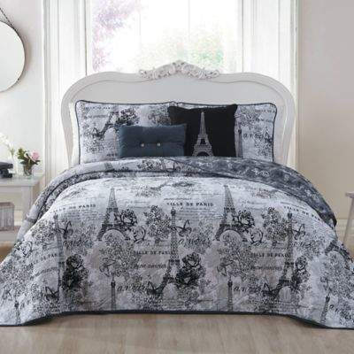 Amour Reversible Queen Quilt Set in Black/White
