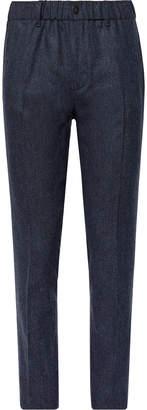 Incotex Navy Slim-Fit Melange Stretch Virgin Wool and Cashmere-Blend Trousers - Men - Blue