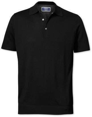 Charles Tyrwhitt Black Merino Wool Polo Collar Short Sleeve Sweater Size XL