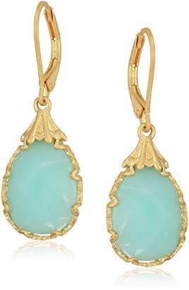 lonna & lilly Women's Gold-Tone and Pear Stone Drop Earrings