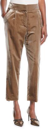 Brunello Cucinelli High-Rise Straight-Leg Crushed Velvet Pants