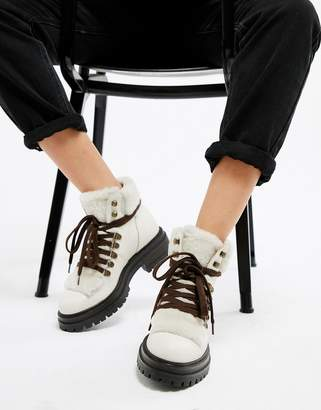 Kurt Geiger London Regent white leather lace up ankle boots