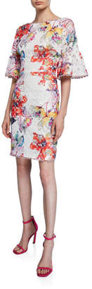Trina Turk Flora Waterfall Floral-Printed Lace Bell-Sleeve Sheath Dress