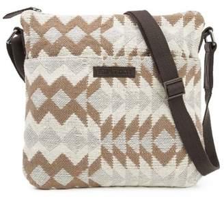 Ashton & Willow Creme White Southwestern Handbags Romy Explorer Crossbody Cotton Adjustable Strap Pewter Hardware Textured Geometric Crossbody