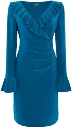 Lauren Ralph Lauren Frill detail v neck jersey dress
