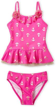 Flapdoodles Girls 4-6x) Two-Piece Foil Anchor Swimsuit
