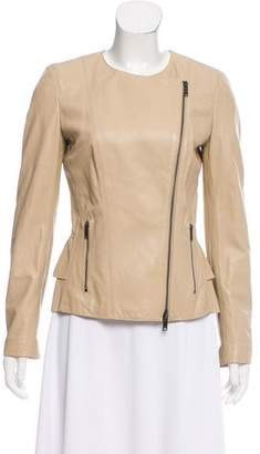 DKNY Lamb Leather Zip-Up Jacket