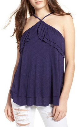 Women's Sun & Shadow Ruffle Halter Top $39 thestylecure.com