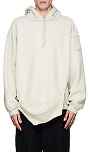 Vetements Men's Cotton-Blend Fleece Oversized Inside-Out Hoodie-Ivorybone