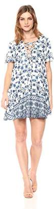 Show Me Your Mumu Women's Kylie LACE UP Short Sleeved Printed Dress