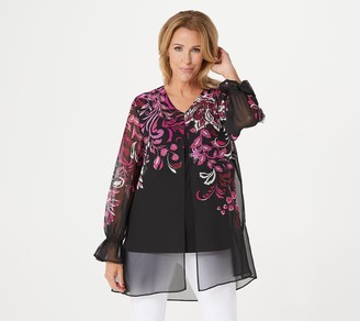 GRAVER Susan Graver Fully Lined Foil Printed Chiffon Tunic
