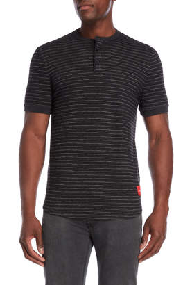 Calvin Klein Jeans Striped Henley Short Sleeve Shirt