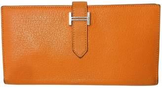 Hermes Bearn Orange Leather Wallets