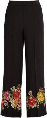 Etro Palazzo floral-detail wide-leg silk trousers