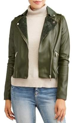 Yoki Women's Faux Leather Moto Jacket