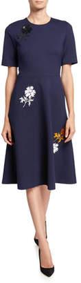 Tory Burch Embellished Short-Sleeve Ponte Dress