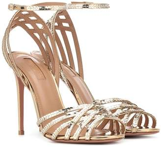Aquazzura Studio 105 sequined leather sandals