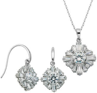 FINE JEWELRY 100 Facets by DiamonArt Cubic Zirconia Drop Earrings and Necklace